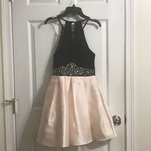 Black and peach dress with jewel belt